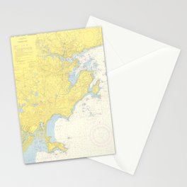 Vintage Map of North Shore Massachusetts (1957) Stationery Cards