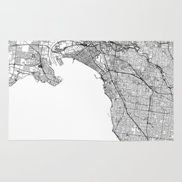 Melbourne White Map Rug