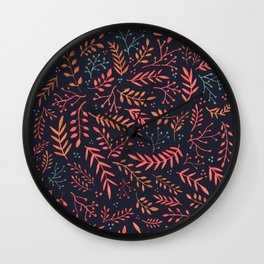 Midnight Meadow Botanical Pattern Wall Clock