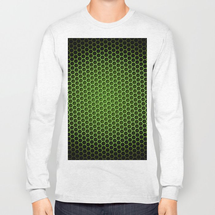 Honeycomb Background Green Long Sleeve T-shirt