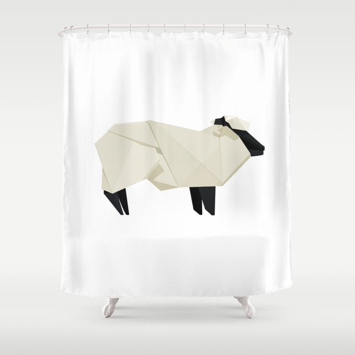 Origami Sheep Shower Curtain