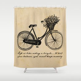 Albert Einstein - Life is Like Riding a Bicycle Shower Curtain