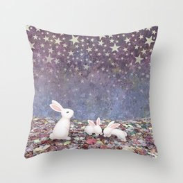 bunnies under the stars Throw Pillow