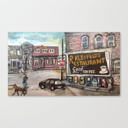 Downtown Willoughby Dog Walk Canvas Print
