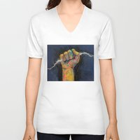 lightning V-neck T-shirts featuring Lightning by Michael Creese