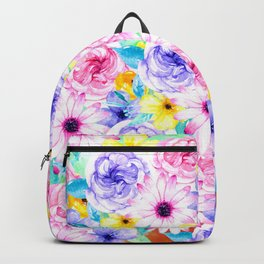 Pink lavender hand painted watercolor flowers Backpack