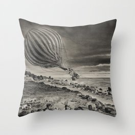 Descent of the balloon Neptune in the cliffs of Cap Gris-Nez baloon trip in Calais by Albert Tissand Throw Pillow
