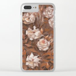 White roses in earth shades Clear iPhone Case