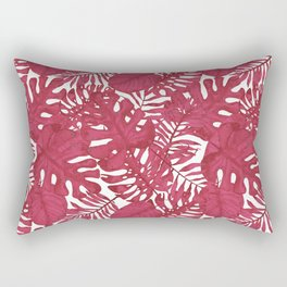 Modern tropical bright pink cheese leaves floral Rectangular Pillow