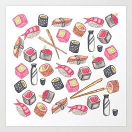Cute Trendy Watercolor Sushi Sake and Chopsticks Art Print
