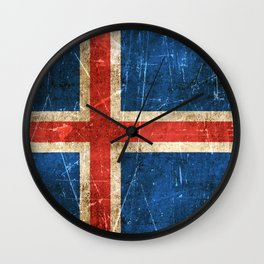 Vintage Aged and Scratched Icelandic Flag Wall Clock