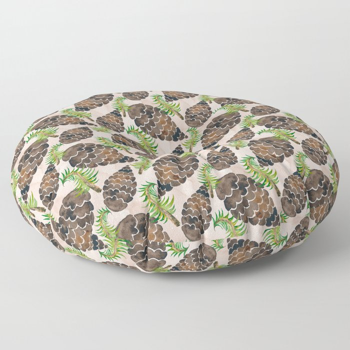 Watercolor Pine Cone Pattern Floor Pillow
