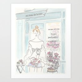 Sweet French Bulldogs in Paris Flower Shop Art Print