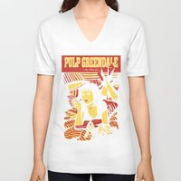 pulp V-neck T-shirts featuring Pulp Greendale by Shana-Lee