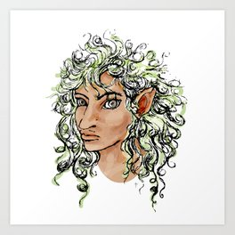 Female elf profile 1a Art Print