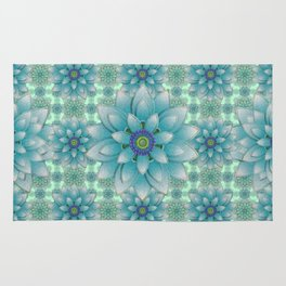 Embroidered blue&green Rug