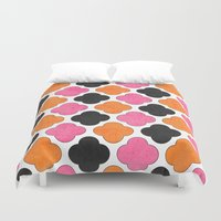 clover Duvet Covers featuring party clover by her art