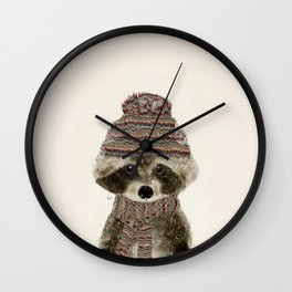 little indy raccoon Wall Clock