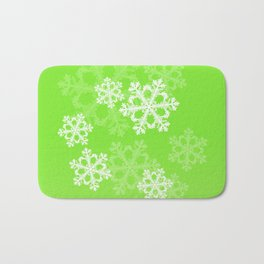 Cute green snowflakes Bath Mat