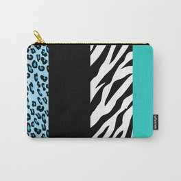 Animal Print, Zebra Stripes, Leopard Spots - Blue Carry-All Pouch