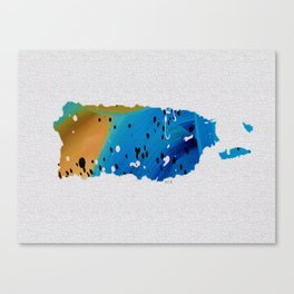 Colorful Art Puerto Rico Map Blue and Brown Canvas Print