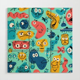 Colorful Character Shapes Wood Wall Art