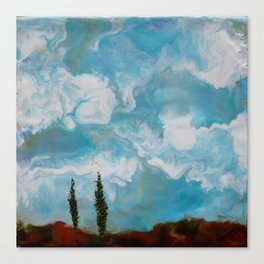 Cypress Trees encaustic wax painting by Seasons Kaz Sparks Canvas Print