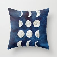 moon phases Throw Pillows featuring Moon phases by Bridget Davidson