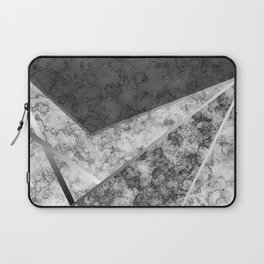 Combined abstract pattern in black and white . Laptop Sleeve