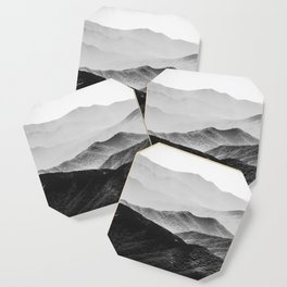 Glimpse - Black and White Mountains Landscape Nature Photography Coaster