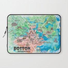 Boston Massachusetts USA Illustrated Map with Main Roads Landmarks and Highlights Laptop Sleeve