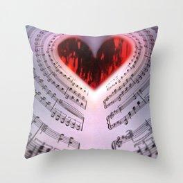 'For the Love of Music' Sheet Music Art Motif Throw Pillow
