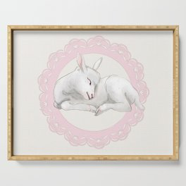 Sleeping Lamb in Pink Lace Wreath Serving Tray