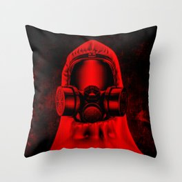 Toxic environment RED / Halftone hazmat dude Throw Pillow