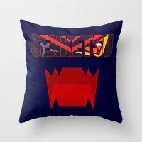 kill la kill Throw Pillows featuring Senketsu - Kill La Kill by feimyconcepts05