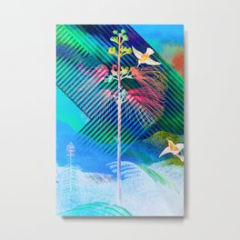 Floreal - Watercolor Tropical Rainforest Flowers And Birds Metal Print