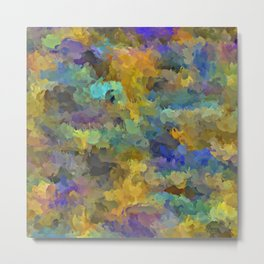 psychedelic painting abstract pattern in yellow brown blue Metal Print