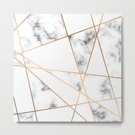 White, Gray, Gold Marble Geometric Pattern Metal Print