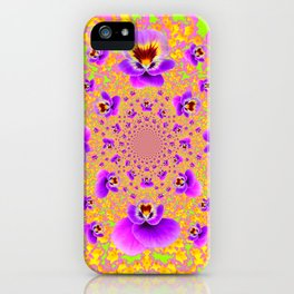 PURPLE-LIME MODERN ART PURPLE-GOLDEN PANSIES iPhone Case