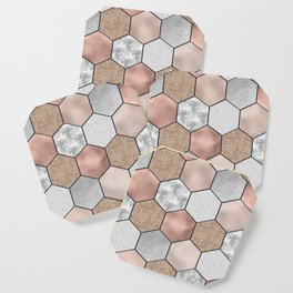 Marble hexagons and rose gold on black Coaster