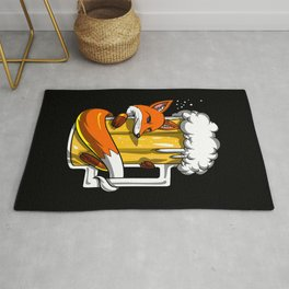 Fox Drinking Beer Party Animal Rug