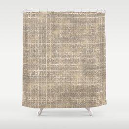 Beige Taupe Brown Jute Burlap Textile Pattern Shower Curtain