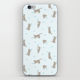 Polka Dot Cats in Blue iPhone Skin