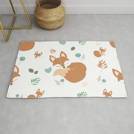 Cute Cartoon Sleepy Fox Pattern Rug