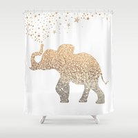 elephant Shower Curtains featuring ELEPHANT by Monika Strigel