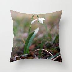Snowdrop -  Spring Flower Nature Macro Photography Throw Pillow
