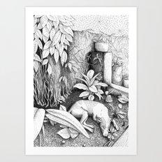 Garden dog Art Print