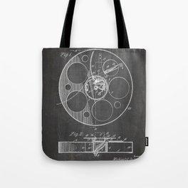 Film Reel Patent - Classic Cinema Art - Black Chalkboard Tote Bag