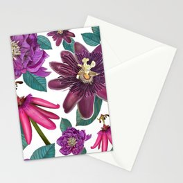 Passiflora and hellebore flower pattern white Stationery Cards