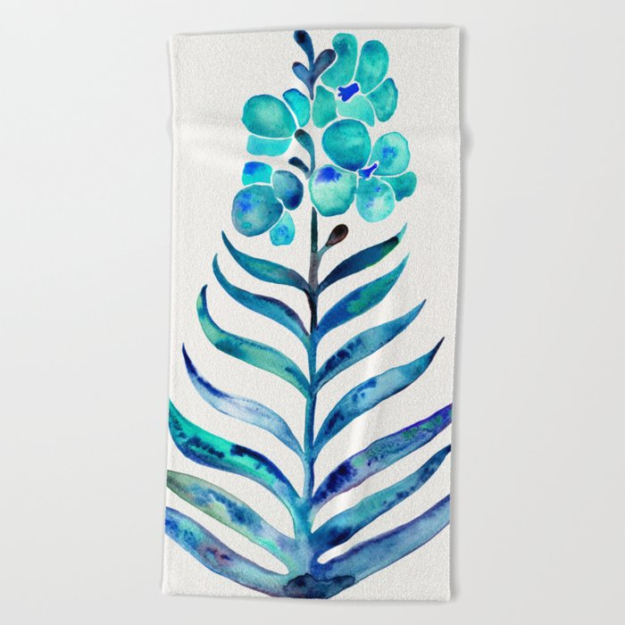 Blooming Orchid – Navy & Turquoise Palette Beach Towel